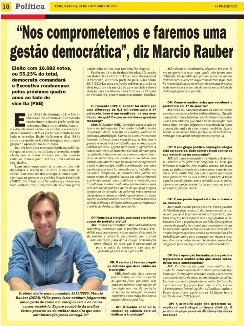 1ª parte da entrevista do prefeito eleito de Marechal Cândido Rondon, Marcio Andrei Rauber.  Imagem: Acervo  O Presente - FOTO 15 -