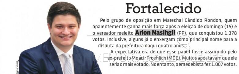 Vereador Arion Nasihgil reeelito para o 2º mandatato no Legsialtivo de Marechal Cândido Rondon.  Imagem: Acervo O Presente - FOTO 31 -