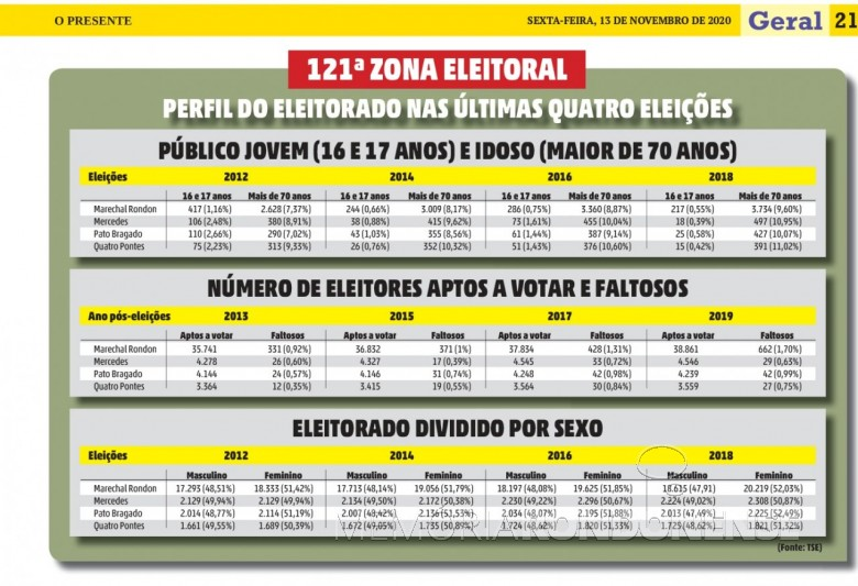Infográfico do perfil do eleitorado da Zona Eleitoral de Marechal Cândido Rondon, em 2020. Imagem: Acervo O Presente - FOTO 25  -