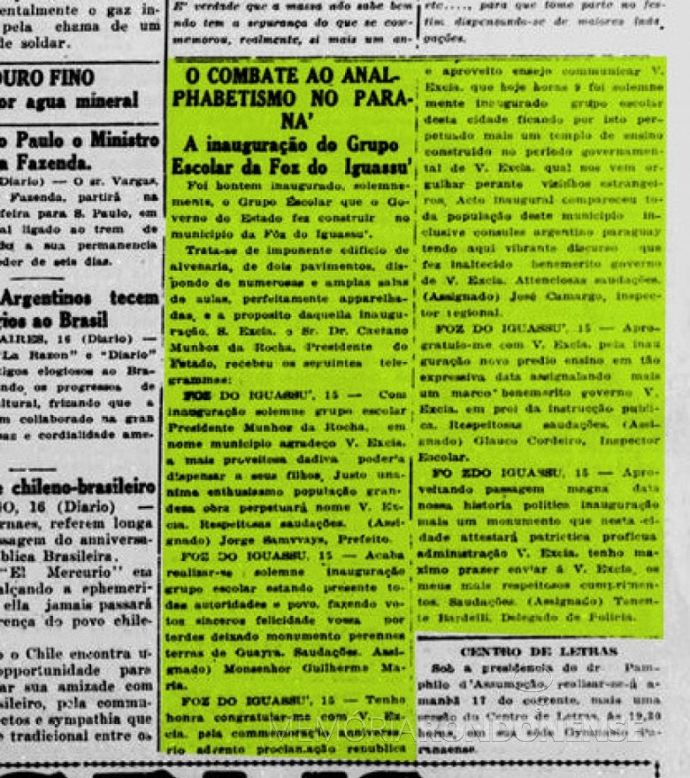 Destaque do Diário da Tarde, de Curitiba,  ref. a inauguração do então Grupo Escolar Prof. Munhoz da Rocha.  Imagem; Acervo Biblioteca Nacional Digital - FOTO 4 -