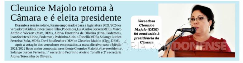 Nota do jornal O Presente sobre a composição da Câmara Municipal de Quatro Pontes e a eleição da Mesa Executiva - FOTO   -