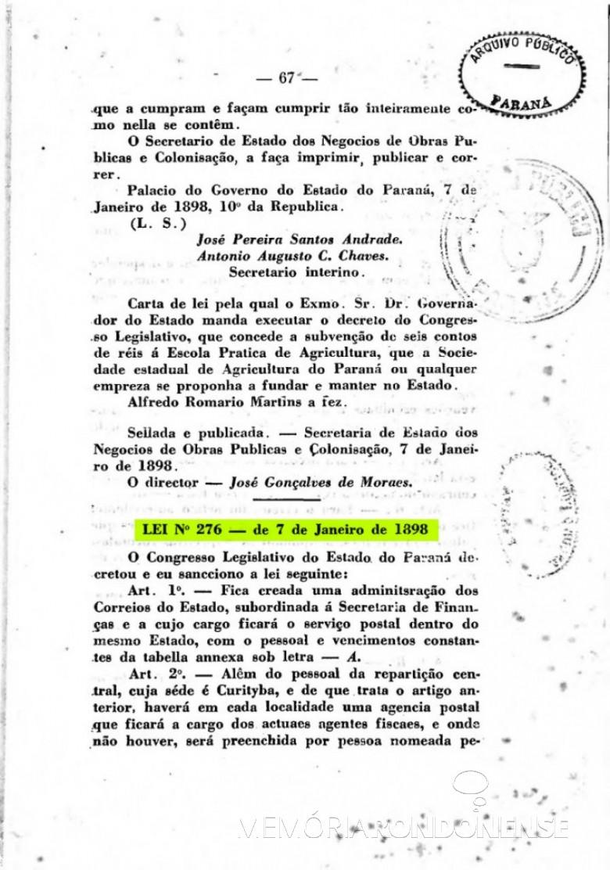 Página 1 da publicação da Lei nº 276/1898, que cria a Administração dos Correios no Paraná.  Imagem: Acervo Arquivo Público do Paraná - FOTO 2 -