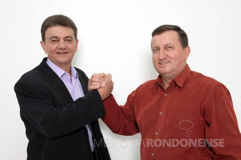 Norberto Pinz (e) e Noedi Hardt que tomaram posse em 01 de janeiro de 2021, como prefeito e vice-prefeito, respectivamente do município de Nova Santa Rosa. Imagem: Acervo Rádio Difusora do Paraná - FOTO -   -