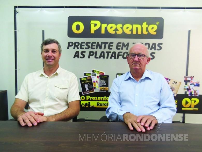 Ari Maldaner (d) e Luciano Schaefer que tomaram posse como prefeito e vice-prefeito de Entre Rios do Oeste para o quadriênio 2021/2024.  Imagem: Acervo O Presente - FOTO    -
