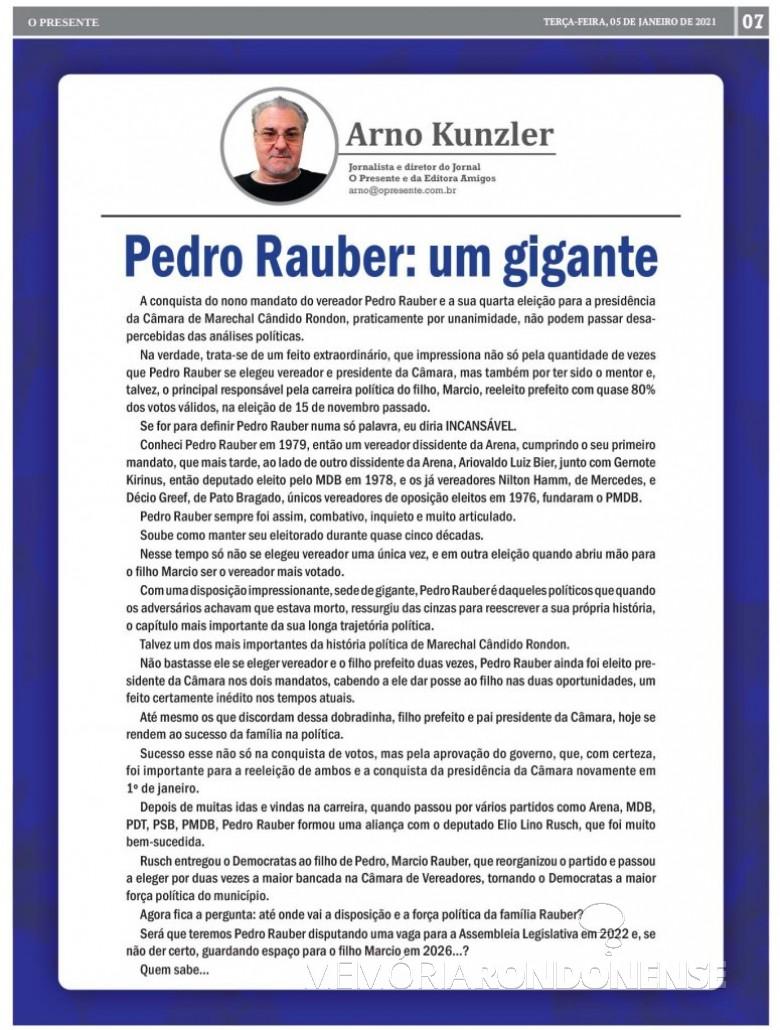 Comentário do jornalista Arno Kunzler sobrea trajetória política de Pedro Rauber. Imagem: Acervo O Presente - FOTO 50  -