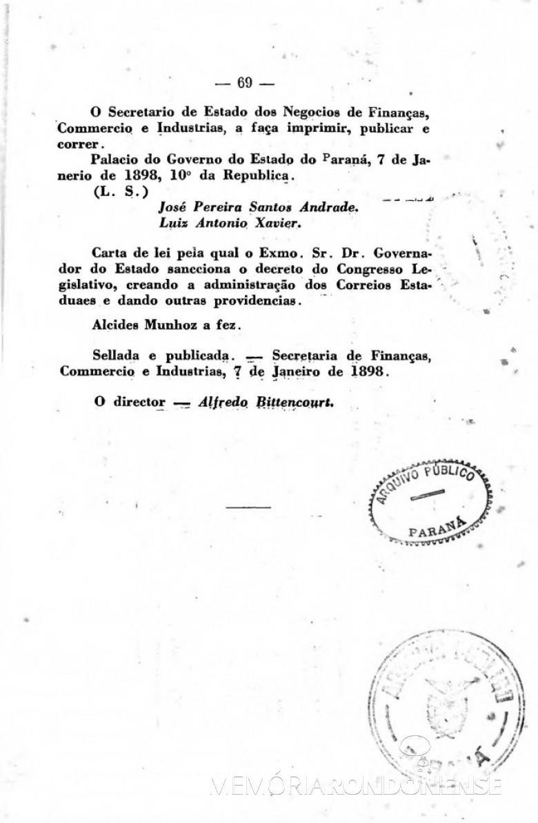 Página 3 da publicação da Lei nº 276/1898.  Imagem: Acervo Arquivo Público do Paraná - FOTO 4 -
