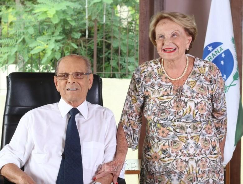 Yvone Lunardelli Pimentel com o esposo Paulo da Cruz Pimentel, ele ex-governador do Paraná de 1966 a 1971. Imagem: Acervo pessoal da Família/G1 - FOTO 4 -