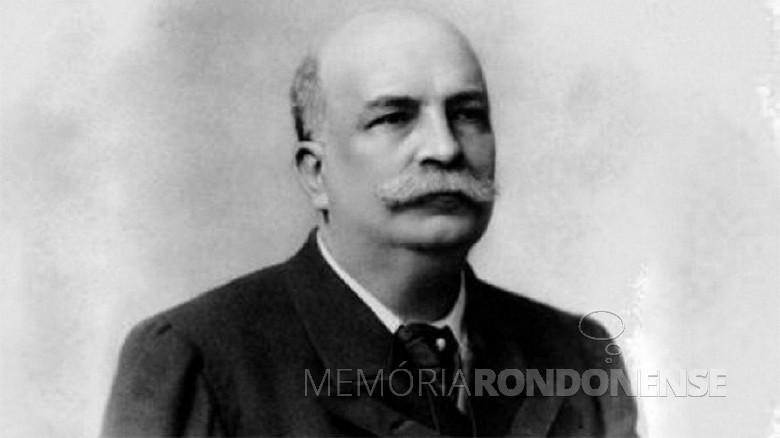 Estadista brasileiro Barão do Rio Branco falecido em fevereiro de 1912.  Imagem: Acervo projeto Memória Rondonense - FOTO 3 -