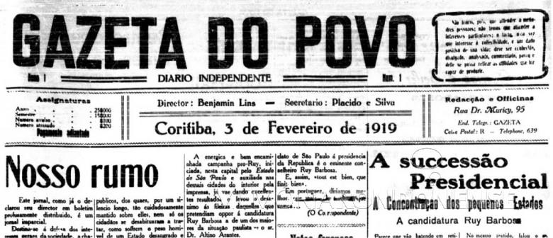 Parte superior da capa da 1ª edição do jornal curitibano
