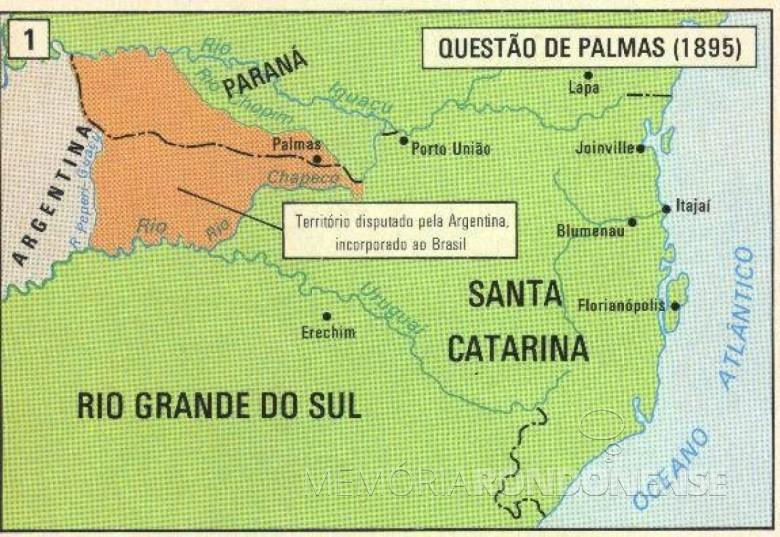 Mapa com destaque para área em disputa com a Argentina.  Imagem: Acervo Projeto Memória Rondonense - FOTO 2 -