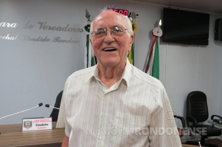 Pastor Waldemar Martin que chegou de mudança em Marechal Cândido Rondon, em fevereiro de 1978. Imagem: Acervo CM-MCR - Crédito: Cristiano Marlon Viteck - FOTO 1 -