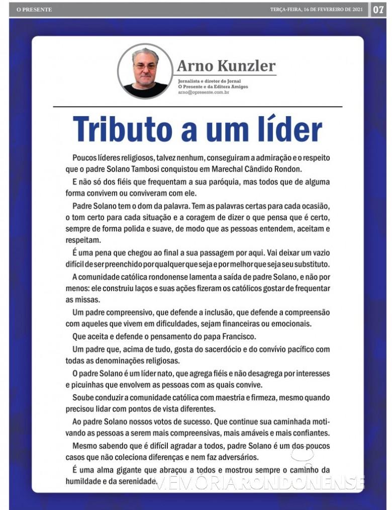 Comentário do jornalista e colunista rondonense sobre a liderança exercida pelo padre Solano Tambosi.  Imagem: Acervo O Presente - FOTO 16 -