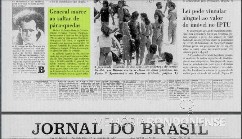 Nota do Jornal do Brasil sobre a acidente  com o General Fernando Valente Pamplona, na cidade de Foz do Iguaçu.  Imagem: Acervo Biblioteca Nacional - FOTO 7 -