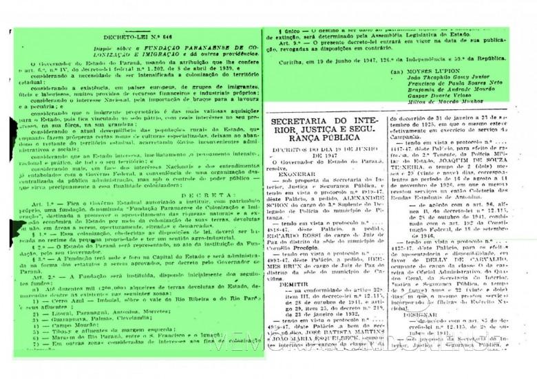Cópia parcial do Decreto-Lei nº 646 que criou a Fundação de Colonização e Imigração do Paraná, em junho de 1947. Imagem: Acervo Arquivo Público do Paraná - FOTO 3 -