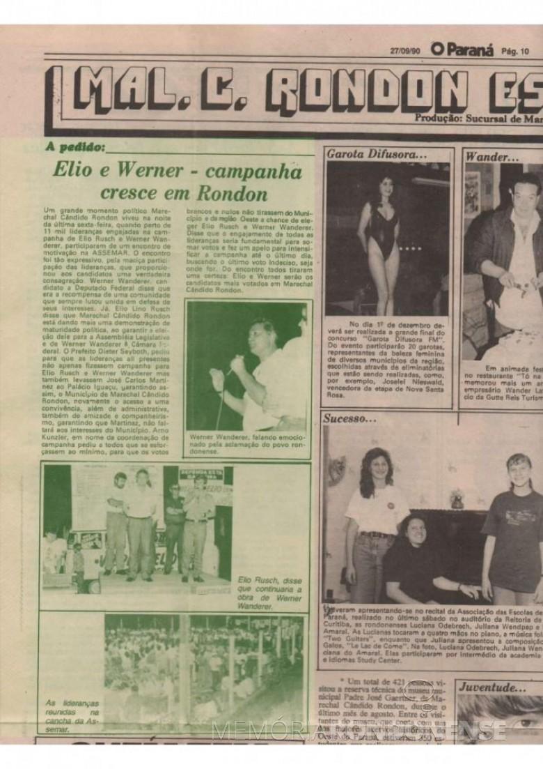 Destaque do jornal cascavelense O Paraná sobre a  a campanha de Werner Wanderer e Elio Lino Rusch, em setembro de 1990. Imagem: Acervo Voni Berta do Amaral - FOTO 4 -