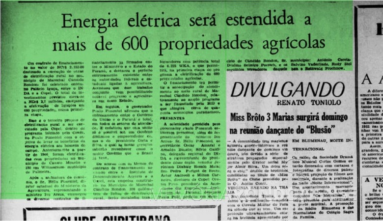 Matéria informativa do Diário da Tarde sobre o financiamento para eletrificação rural em Marechal Cândido Rondon. Imagem: Acervo Biblioteca Naciopnal - FOTO 7 -