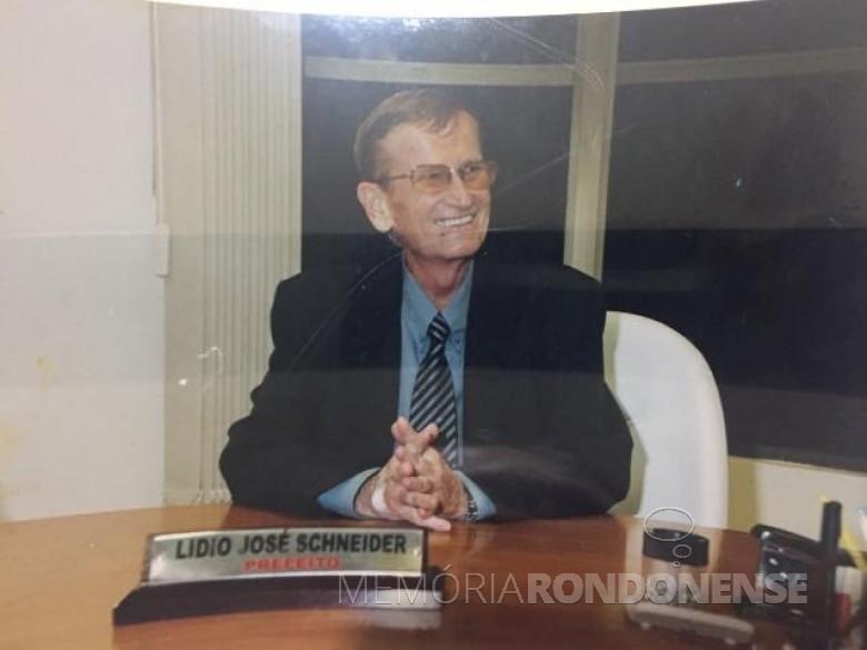 Lidio José Schneider, 1º prefeito municipal de Mercedes, falecido em setembro de 20004. Imagem: Acervo Divulgação - FOTO 5 -