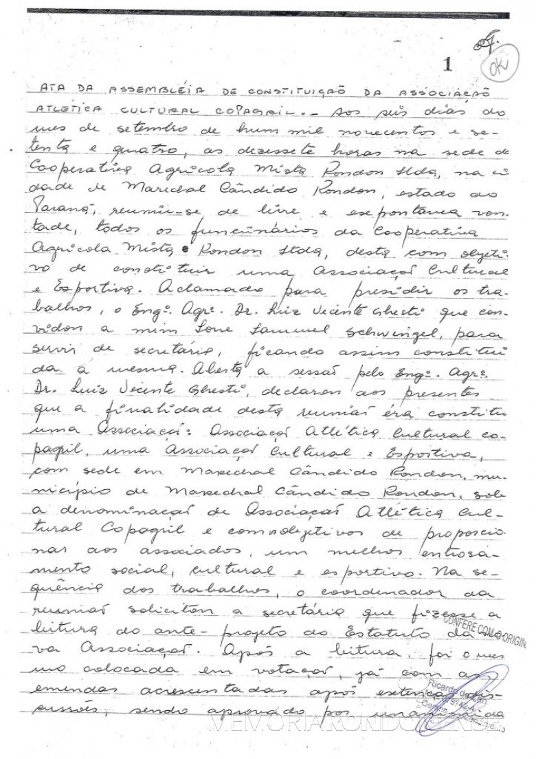 Ata de fundação (1ª página) da Associação Atlética Cultural Copagril (AACC), em setembro de 1978. Imagem: Acervo da Associação - FOTO 3 -