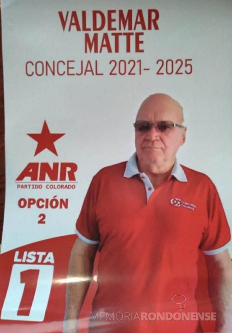 Waldemar Matte, ex-rondonense, morador em Raúl Peña, Paraguai, eleito para aJunta Concejal da cidade paraguaia, em outubro de 2021. Imagem: Acervo Vilson Arnhold - FOTO 17 -