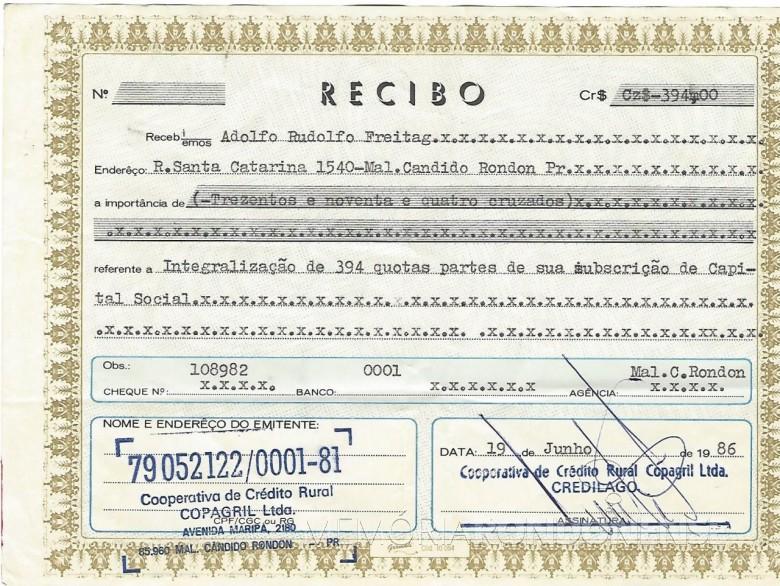 Comprovante de adesão de Adolfo Rudolfo Freitag a então Cooperativa de Crédito Rural Copagril Ltda., hoje Sicredi Aliança SP/PR, em junho de 1986. Imagem: Acervo Adolfo Freitag - FOTO 4 –
