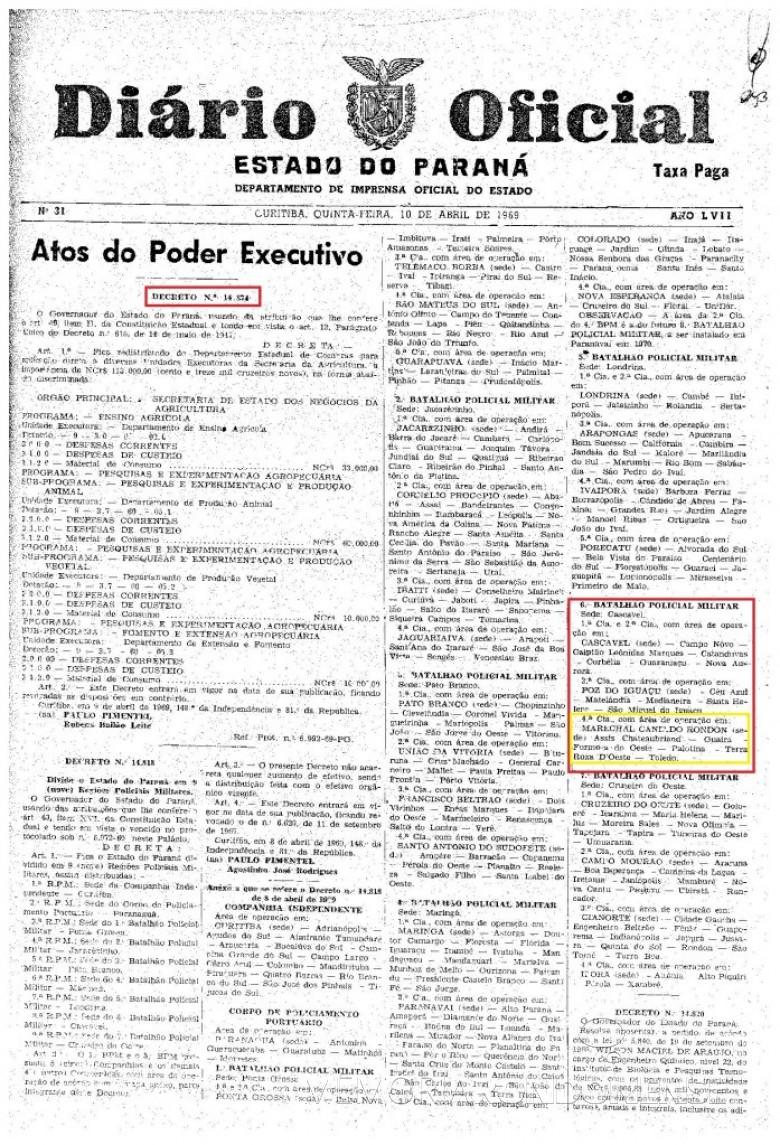 Decreto Estadual nº 14.874, de 09 de abril de 1969, que criou a 4ª Companhia da Polícia Militar do Estado do Paraná, com sede na cidade de Marechal Cândido Rondon.  Imagem: Acervo Arquivo Público do Paraná - FOTO 2 -