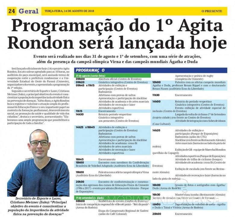 Página do jornal O Presente, ed. de 14.08.2018, noticiando o lançamento do 1º Agita Rondon e a agenda programática do evento.  Imagem: Acervo O Presente - FOTO 14 -