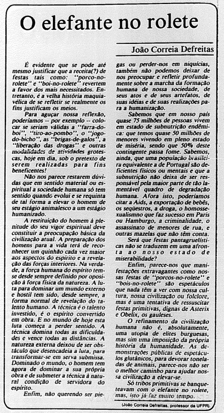 Artigo do professor João Correia Defreitas publicado na 6ª página, da edição de 1º de julho de 1991, do jornal Gazeta do Povo, de Curitiba -  Imagem: Acervo Biblioteca Pública do Paraná - FOTO 8 -