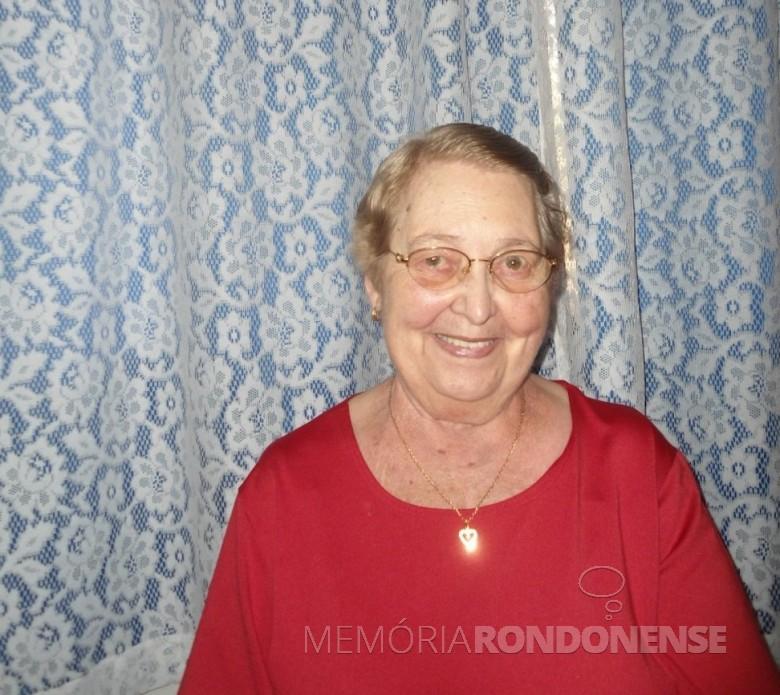 A pioneira Gertrudes Koch, do distrito de Iguiporã, falecida em começo de maio de 2018.  Imagem: Acervo da família - FOTO 12 -