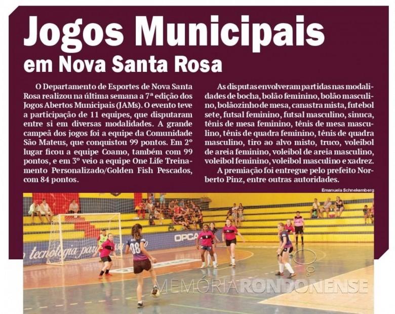 Publicação do jornal O Presente que informa os resultados e classificação dos Jogos Aberto de Nova Santa Rosa 2018.  Imagem: Acervo O Presente - FOTO 11 -