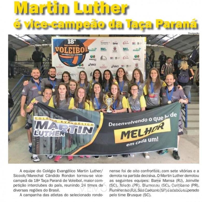Destaque do jornal O Presente sobre a conquista do título de vice-campeão pelo Colégio Evangélico Martin Luther.  Imagem: Acervo O Presente - FOTO 5 -