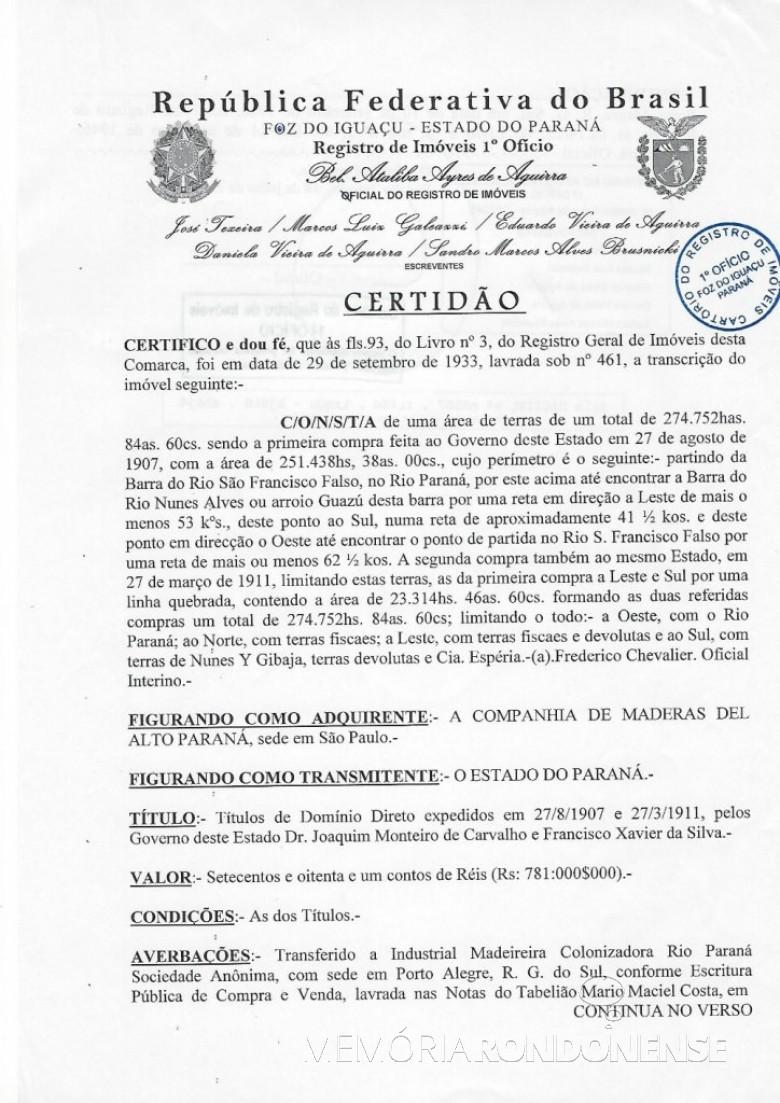 Certidão (primeira página) de registro de vendas de terras pelo Governo do Paraná à Companhia de Madeiras del Alto Paraná, em 1907 e 1911.  Imagem: Acervo Memória Rondonense - IMAGEM 1 -