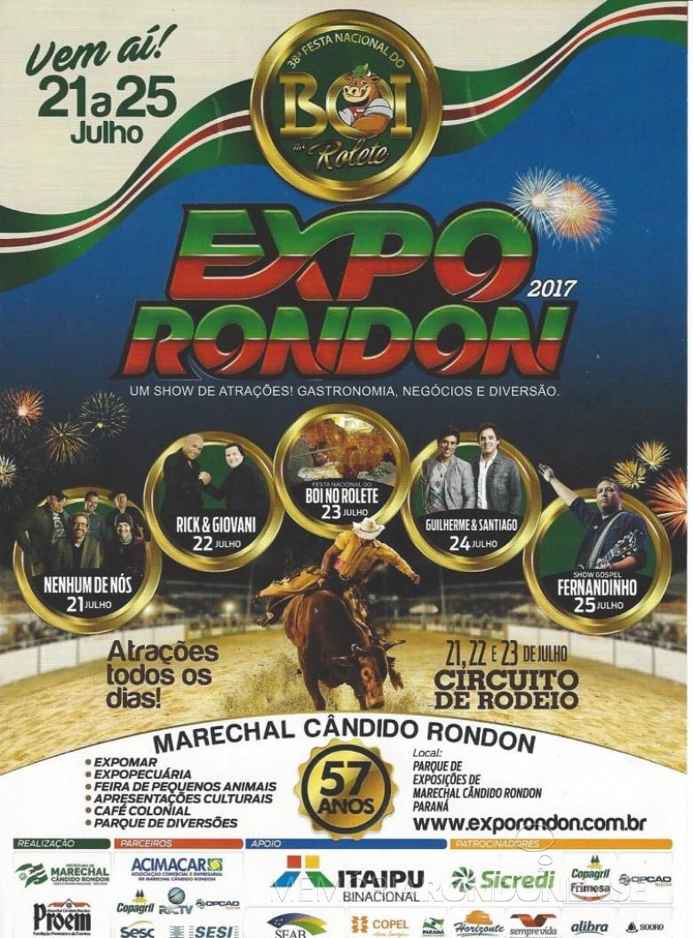 Capa do prospecto de divulgação da ExpoRondon2017.  Imagem: Acervo Memória Rondonense - FOTO 6 -