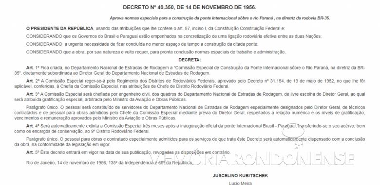 Cópia do Decreto Federal nº 40.350, de 14 de setembro  de 1956. Imagem: Acervo Senado Federal - FOTO 10 -