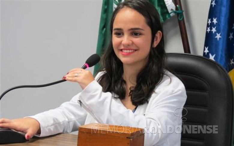 Estudante Nayara Camila Jacomini , eleita presidente da ARES para a gestão 2017/2018.  Imagem: Acervo O Presente -  Crédito: Cristiano Marlon Viteck - FOTO 9 -