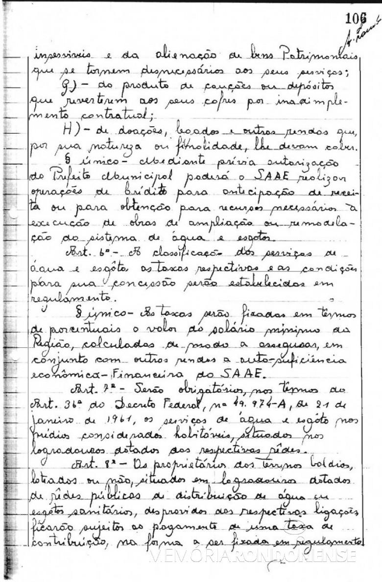 Cópia da Lei Municipal nº 223/66 (4ª página), de 19 de agosto de 1966, que criou o Serviço Autônomo de Água e Esgoto de Marechal Cândido Rondon - o SAAE.  O detalhe curioso é que naquela época as leis eram manuscritas em livros de atas.  Imagem: Acervo Arquivo da Prefeitura Municipal de Marechal Cândido Rondon