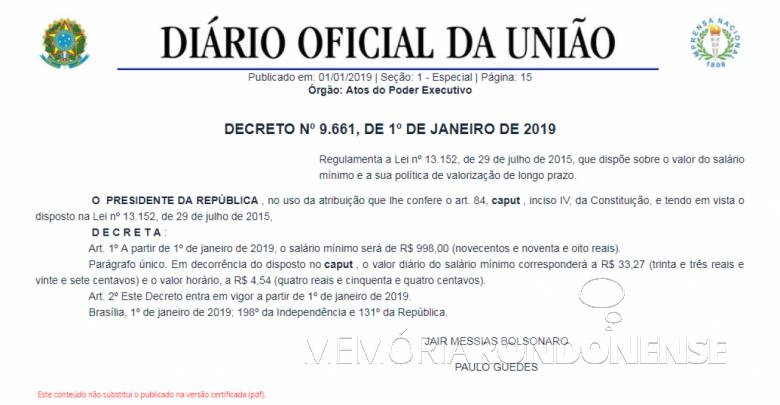 Publicação do decreto nº 9.661, ref. a fixação do salário minimo para 2019.  - FOTO 40 -