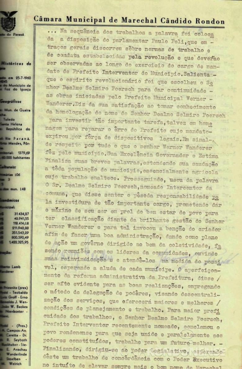 Terceira folha da ata que deu posse a Dealmo Selmiro Poersch .  Imagem: Acerco Câmara Municipal de Marechal Cândido Rondon - FOTO 5 -