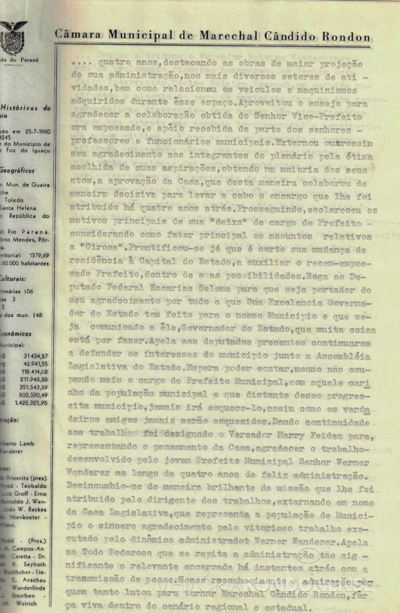 Segunda folha da ata que deu posse a Dealmo Selmiro Poersch .  Imagem: Acerco Câmara Municipal de Marechal Cândido Rondon - FOTO 4 -