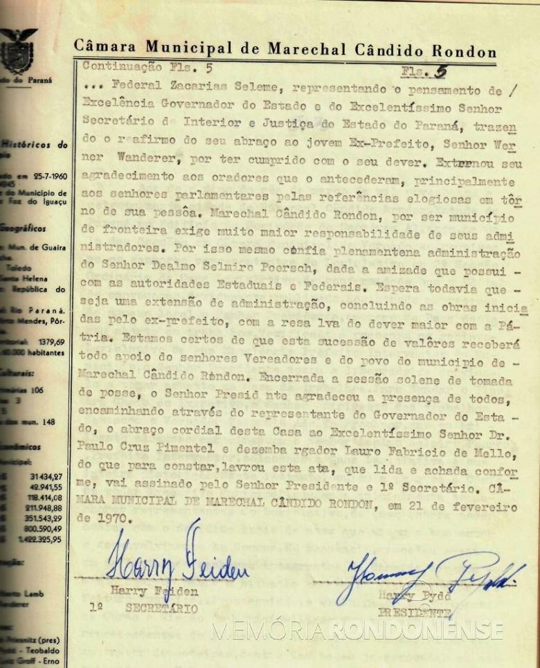 Quinta folha da ata que deu posse a Dealmo Selmiro Poersch .  Imagem: Acerco Câmara Municipal de Marechal Cândido Rondon - FOTO 7 -