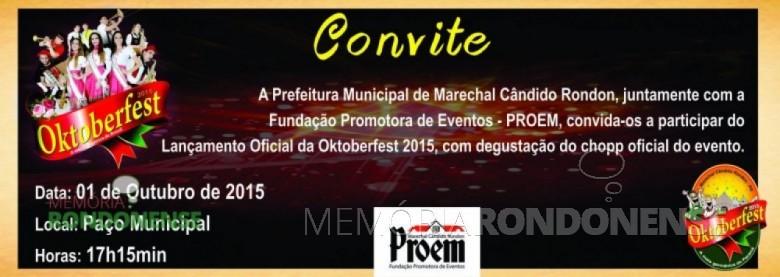 Convite para o lançamento oficial da Oktoberfest 2015. Imagem: Acervo Imprensa PM-MCR - FOTO 9 -