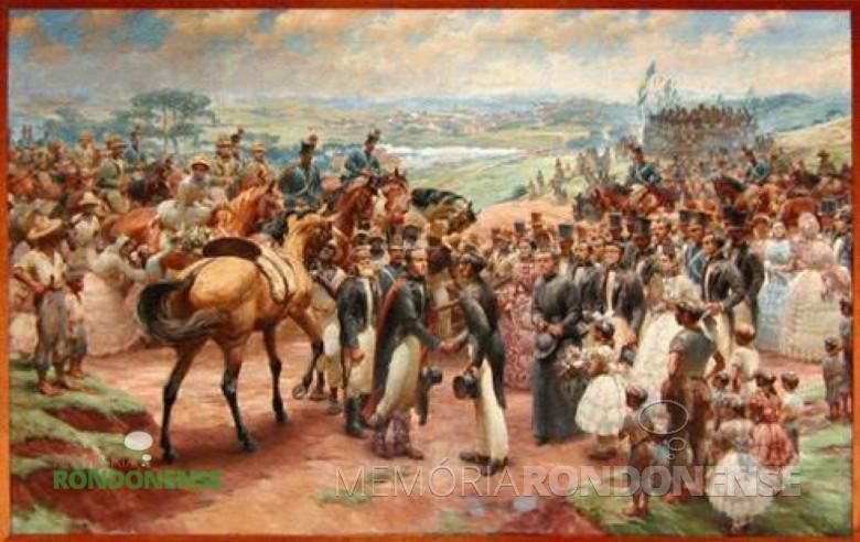 Recepção ao baiano Zacarias de Góis e Vasconcellos na entrada de Curitiba. Arte: José Nisio Acervo: Governo do Paraná