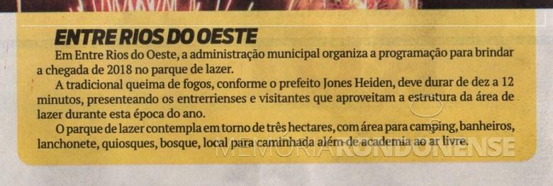 Recorte do jornal O Presente com referência sobre a programação comemorativa a Pasaagem de Ano, na cidade de Entre Rios do Oeste.  Imagem: O Presente - FOTO 6 -