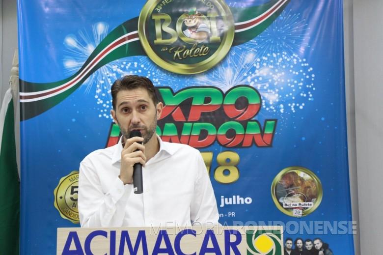 Prefeito municipal Marcio Andrei Rauber  anunciando o lançamento oficial da ExpoRondon 2018.  Imagem: Acervo Imprensa PM-MCR - FOTO 6 -
