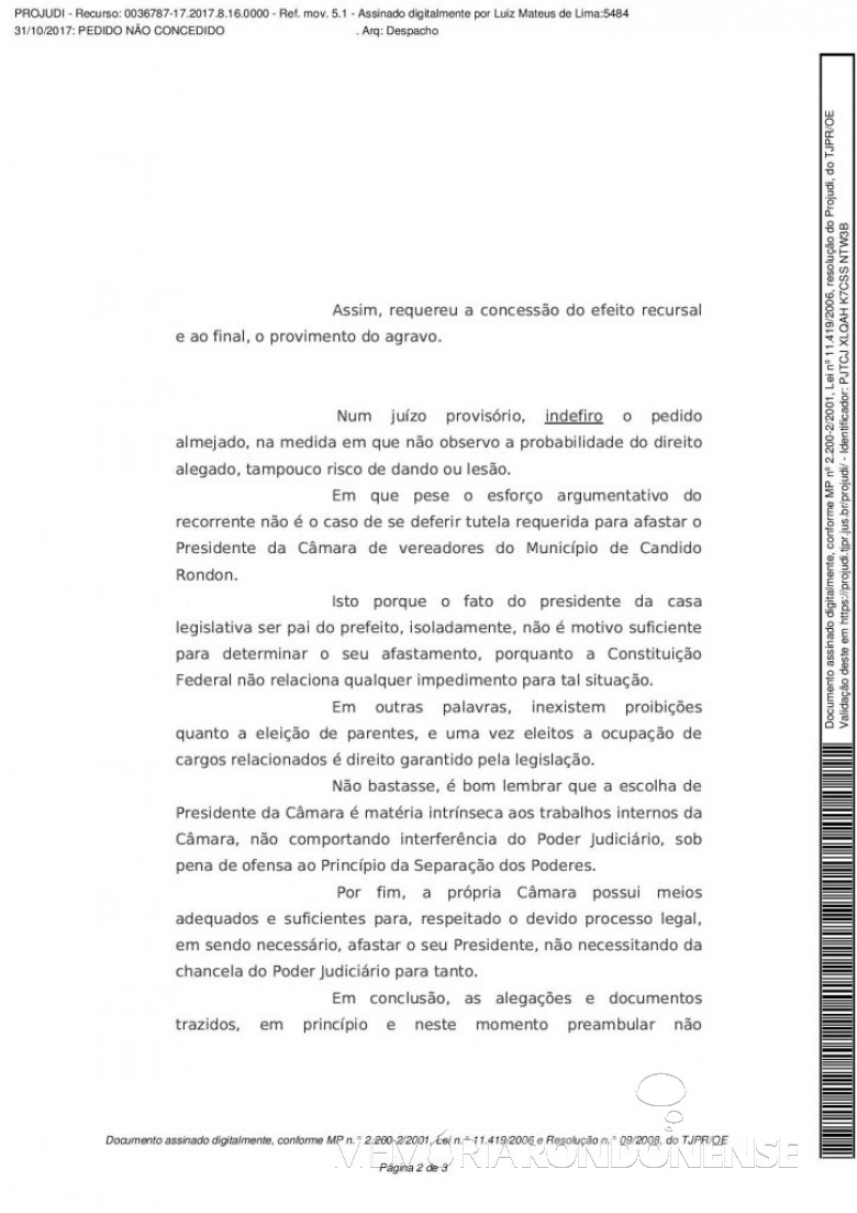 2ª página da decisão do desembargador Luiz Mateus de Lima.  Imagem: Acervo Memória Rondonense - FOTO 8 -