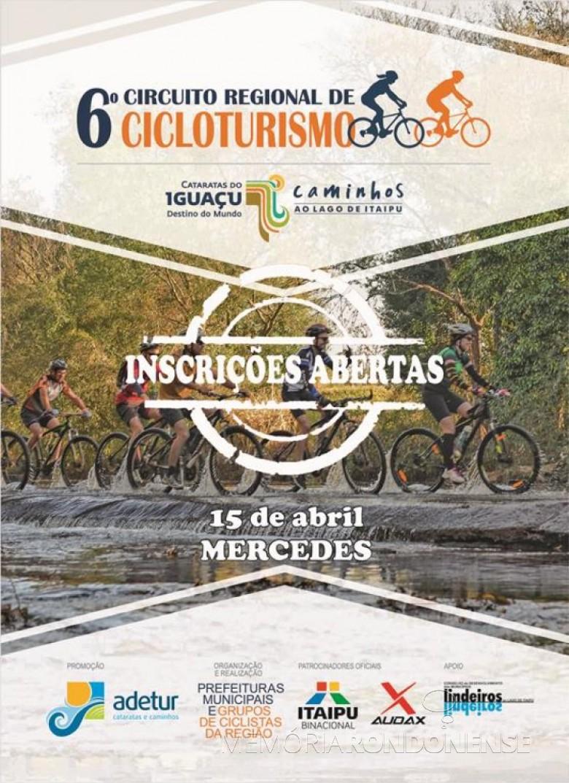 Cartaz-convite para a inscrição de ciclistas para a etapa de Mercedes do 6º Circuito Regional de Cicloturismo.  Imagem: Acervo O Presente - FOTO 4 -
