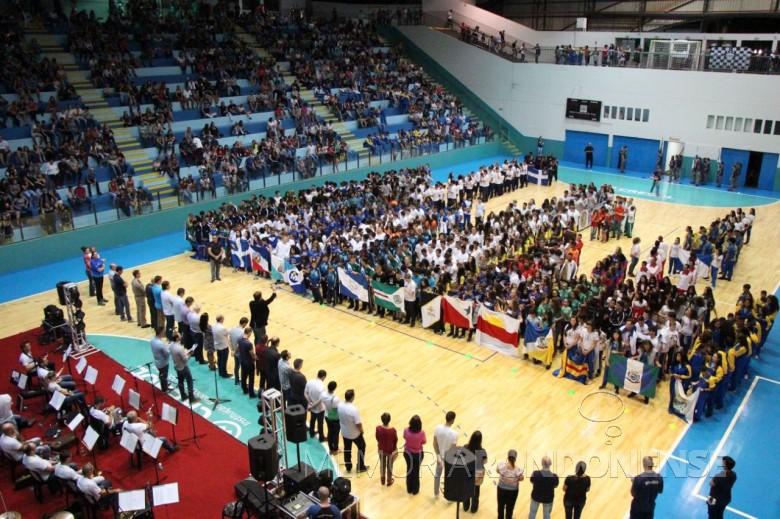 Solenidade abertura da fase regional dos Jogos Escolares do Paraná 2018, no Ginásio de Esportes Ney Braga, em Marechal Cândido Rondon.  Imagem: Acervo Imprensa PM-MCR - FOT0 5 -