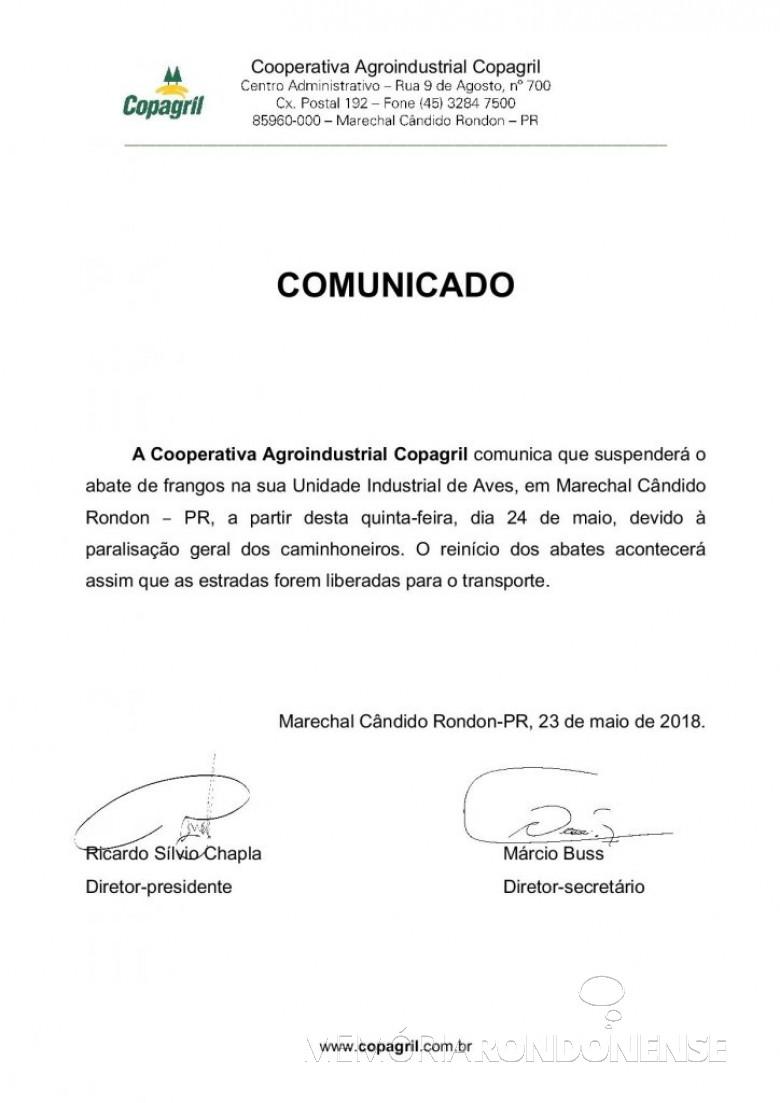 Nota da Copagril em que anuncia a suspensão do abate em sua Unidade Industrial de Aves.  Imagem: Acervo Imprensa Copagril - FOTO 8 -