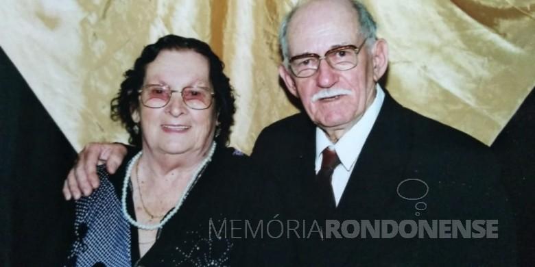 Pioneira rondonense Irma Zimmermann com o esposo Hetga, na comemoração de suas Bodas de Ouro, em setembro  de 2009.  Imagem: Acervo da Família - FOTO 8 -