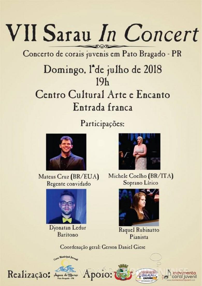 Cartaz-convite do 7º Sarau in Concert, de Pato Bragado.  Imagem: Imprensa PM-PR - FOTO 16 -