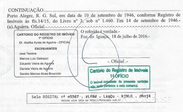 Certidão (segunda página) de registro de vendas de terras pelo Governo do Paraná à Companhia de Madeiras del Alto Paraná, em 1907 e 1911.  Imagem: Acervo Memória Rondonense - IMAGEM 2 _